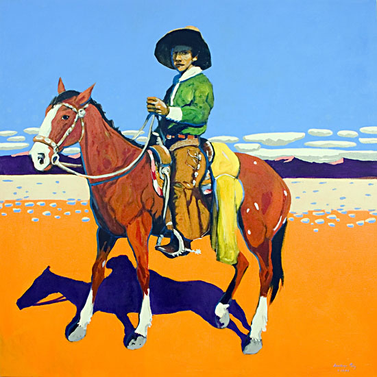 A Cowboy and His Pony ©Santiago Perez - Paintings of the West