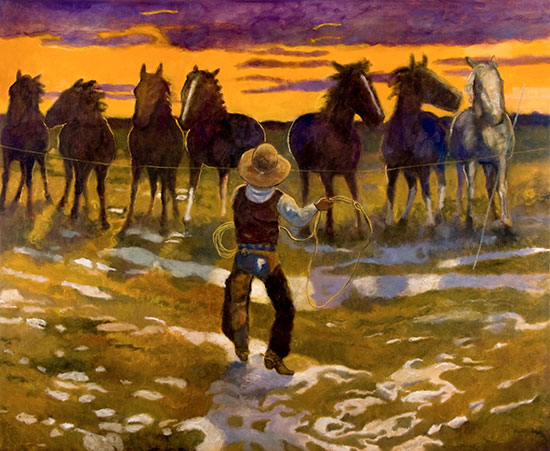 Remuda Wrangler ©Santiago Perez - Paintings of the West